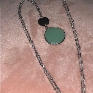 "Jbloom 33"" Capri silver mint stone necklace"